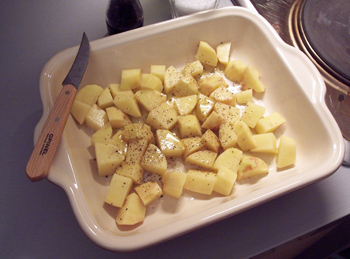 Roast potato prep