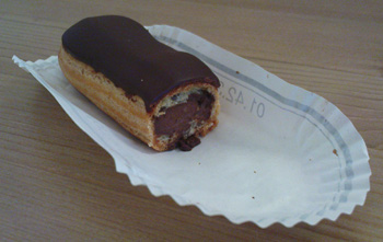 Chocolate Eclair - halved to show interior (nothing to do with me eating the other half)