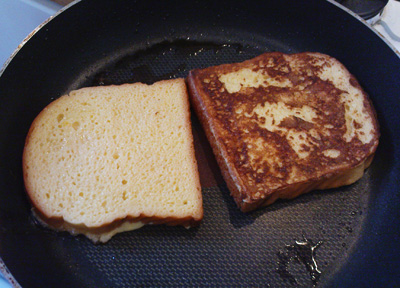 Lightly sweetened French toast (so we could skip the powdered sugar)