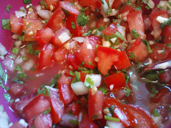 Tomato, onion, garlic, cilantro, lime...