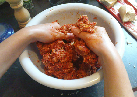 Who doesn't love the feel of ground beef between their fingers?