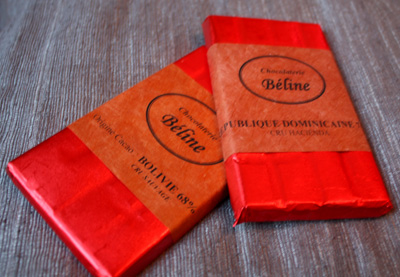 Single-origin chocolate bars, produced in Le Mans, France