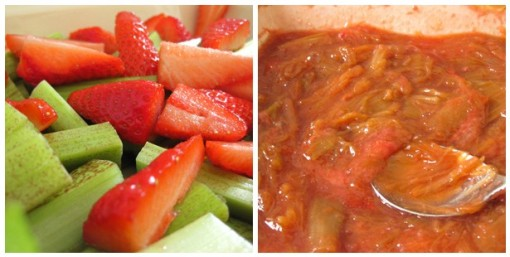 Rhubarb and strawberries - before and after