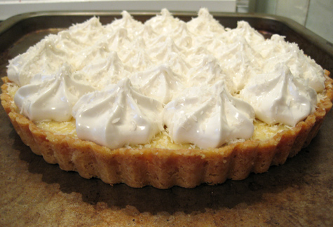 Coconut-key lime pie, pre-toast