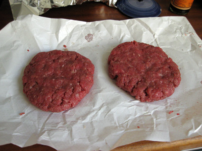 burger patties, handmade by Nick