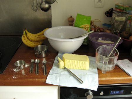 Mise en place for banana cake