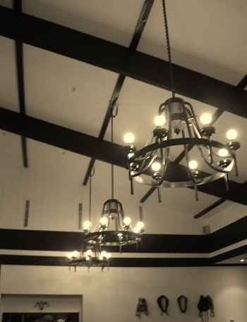 chandeliers and exposed beams